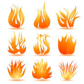 Set of symbols of fire — Stock Vector