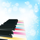 Piano background with notes and color keys — Stock Vector
