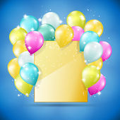Altın kartı balonlar ve pırıltılar — Stok Vektör