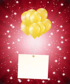 Balloons and a card on red background — Stockvektor
