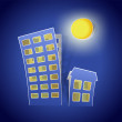 Houses as real estate symbol at night — Stock Vector