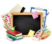 作为背景的钢笔、 铅笔、 书、 苹果的小黑板 — 图库矢量图片