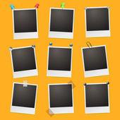 Photo frames on orange background — Stok Vektör