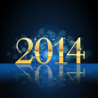2014 year card gold on blue — Stock Vector #30466705
