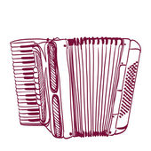 Hand getrokken accordeon op wit — Stockvector