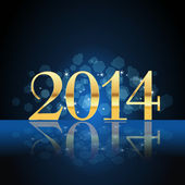 2014 year card gold on blue — Stock Vector