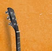 Guitar neck on grunge background — Stock Vector