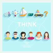 People think — Stock Vector