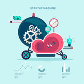 Startup machine — Stock Vector