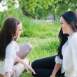 Two girls outdoor — 图库照片