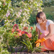 Woman Planting In a Garden — Stock Photo