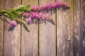 Flowers on wooden background — Стоковое фото