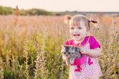 Girl and kitten — Fotografia Stock