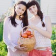 Young womans with tomatos — Stock Photo