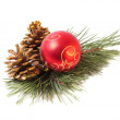 Red ball and christnas branch — Stock Photo #1309363