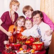 Family Enjoying Christmas Meal At Home — Stock Photo