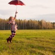 Happy jumping girl outdoor — Stock Photo #18610479