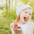 Smile girl with strawberry — Stock Photo