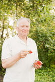 Senior man with strawberry — Stock Photo