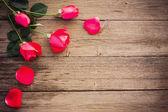 Roses sur fond en bois — Photo