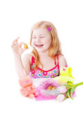 Smile girl with easter decoration — Stock Photo