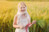 Happy Russian girl outdoor — Stock Photo