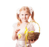 Beautiful girl with Ester eggs isolated on white — Stock Photo