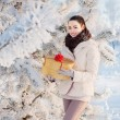 Girl with gift in winter park - Stock Photo