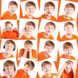 Funny teenager,expression s set over white background - Zdjęcie stockowe