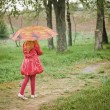 Little girl with umbrelloutdoor — Stock Photo #19973731