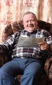Happy elderly men indoor — Stock Photo