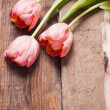 Flowers on wooden background — Stock Photo #21340299