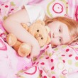 Stock Photo: Ill girl with toy