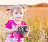 Little girl with cat outdoor — Stock Photo