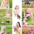 Stock Photo: Girls with pets
