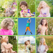 Collage of children outdoor — Stock Photo #24433229