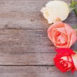 Rose on wooden background — Foto Stock