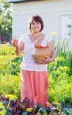 Smile women in garden — Stock Photo