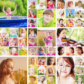 Collage of children outdoor — Stock Photo