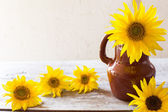 Still-life with sunflowers — Stock Photo