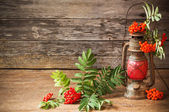 Still life with old lamp and ashberry on wooden background — Stock Photo
