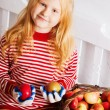 Stock Photo:  Girl with apples in basket