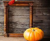 かぼちゃの木製の背景 — ストック写真