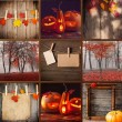 Collage with Halloween decorations — Stockfoto