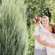 Bride and groom in summer park — Stock Photo