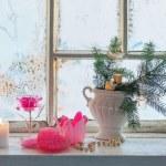 Christmas decoration on window — Stock Photo