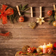 Christmas theme on wooden planks — Stock Photo