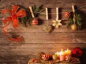 Tema de natal em pranchas de madeira — Foto Stock