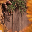 Christmas fir tree on a wooden board — Stock Photo #34826821
