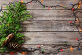 Christmas decoration on wooden planks — Stock Photo